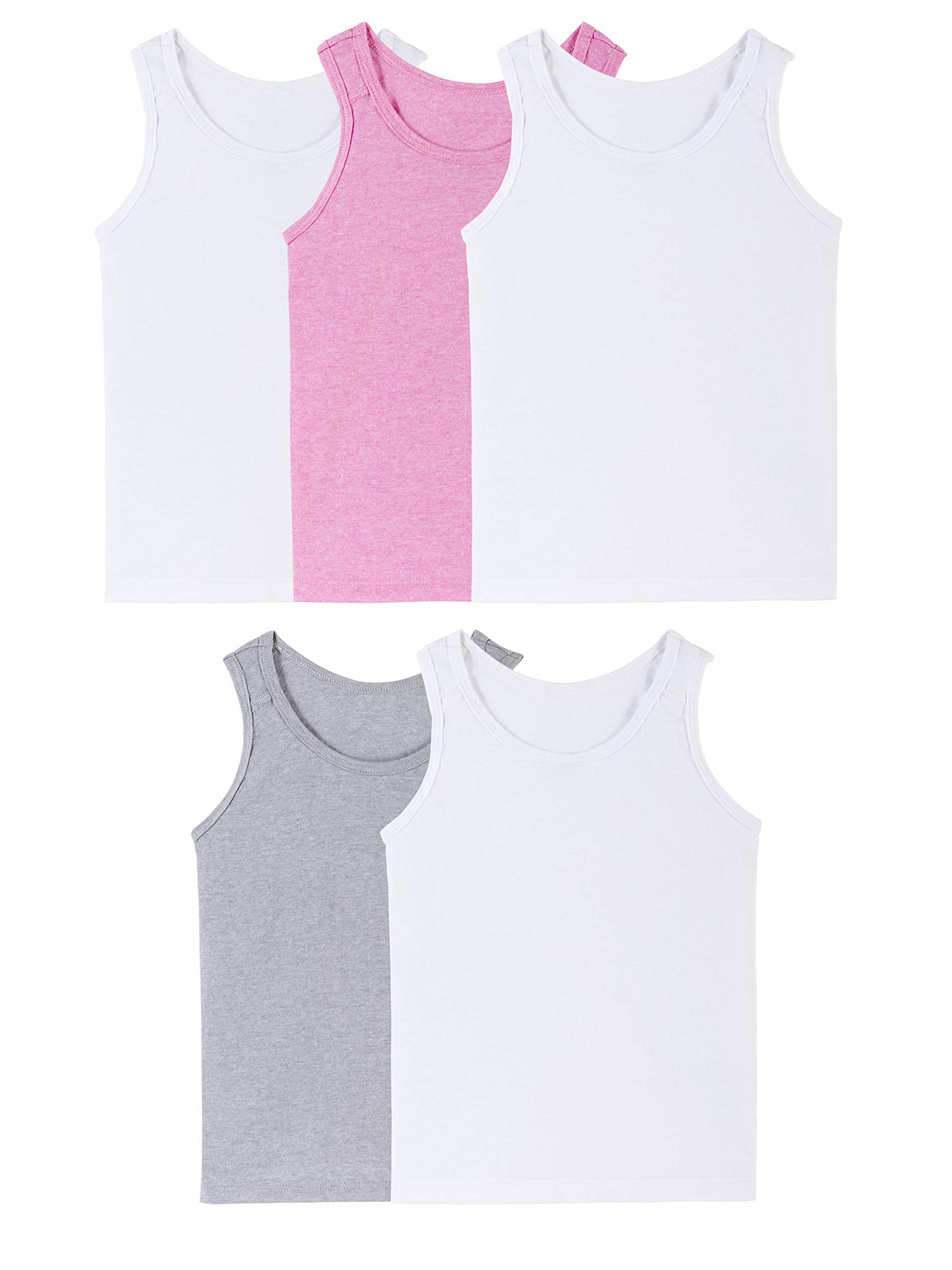 Fruit of the Loom Girls' Big Assorted Tank (Pack of 5), assorted/jersey, Medium by Fruit of the Loom
