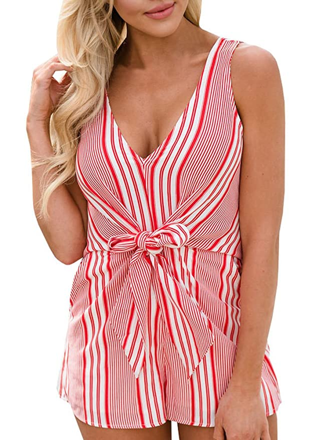 6da03cb6c36b Amazon.com  Seraih Womens Sexy Rompers for Juniors Sleeveless Stripe Tank  Tops Shorts Jumpsuits  Clothing