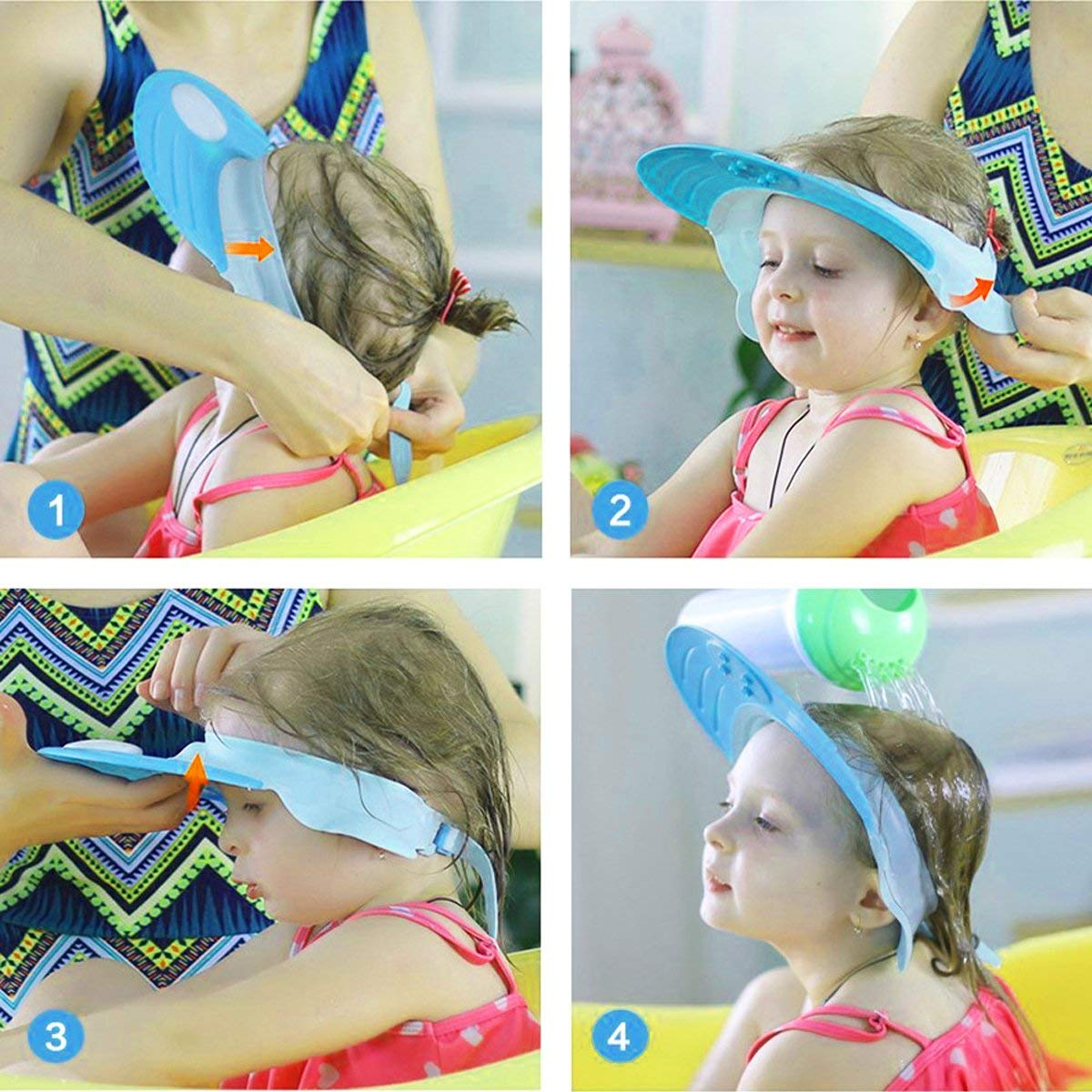 Faneli azul protecci/ón ajustable para los ojos del champ/ú Gorro de ba/ño para ni/ños y beb/és gorro de ba/ño para beb/és y ni/ños protecci/ón para la ducha protecci/ón contra salpicaduras