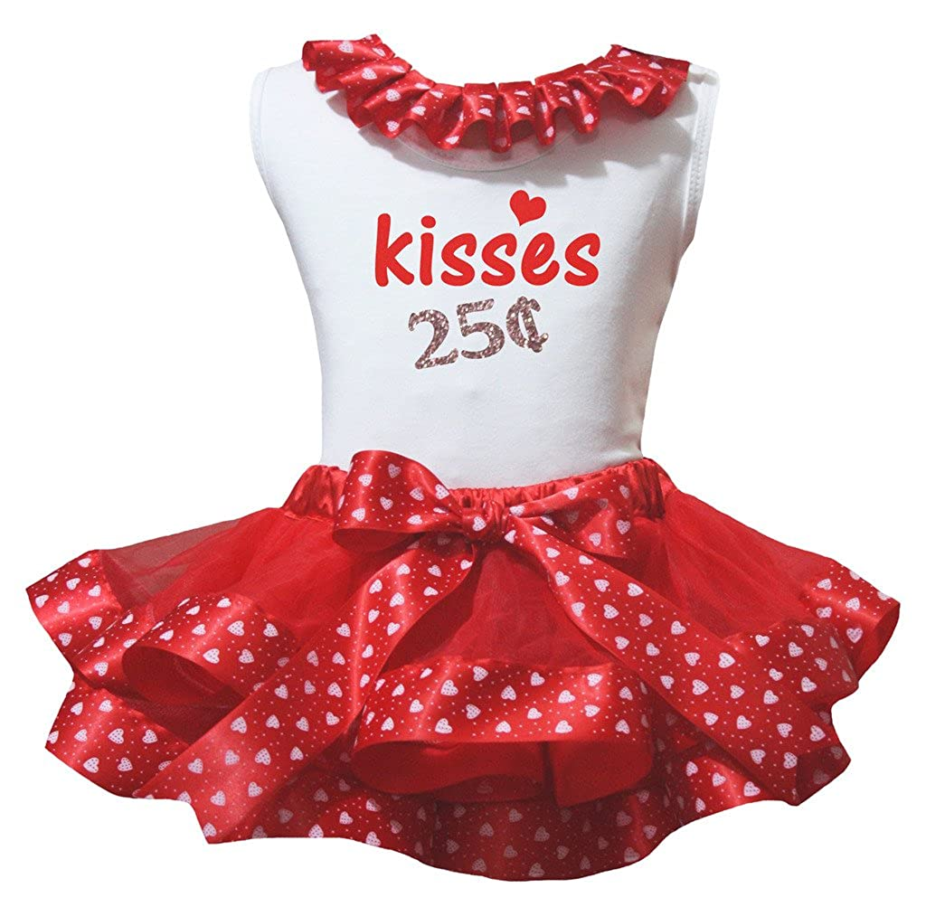 Petitebella Kisses 25b Cents White Shirt Hearts Red Petal Skirt Set Nb-8y