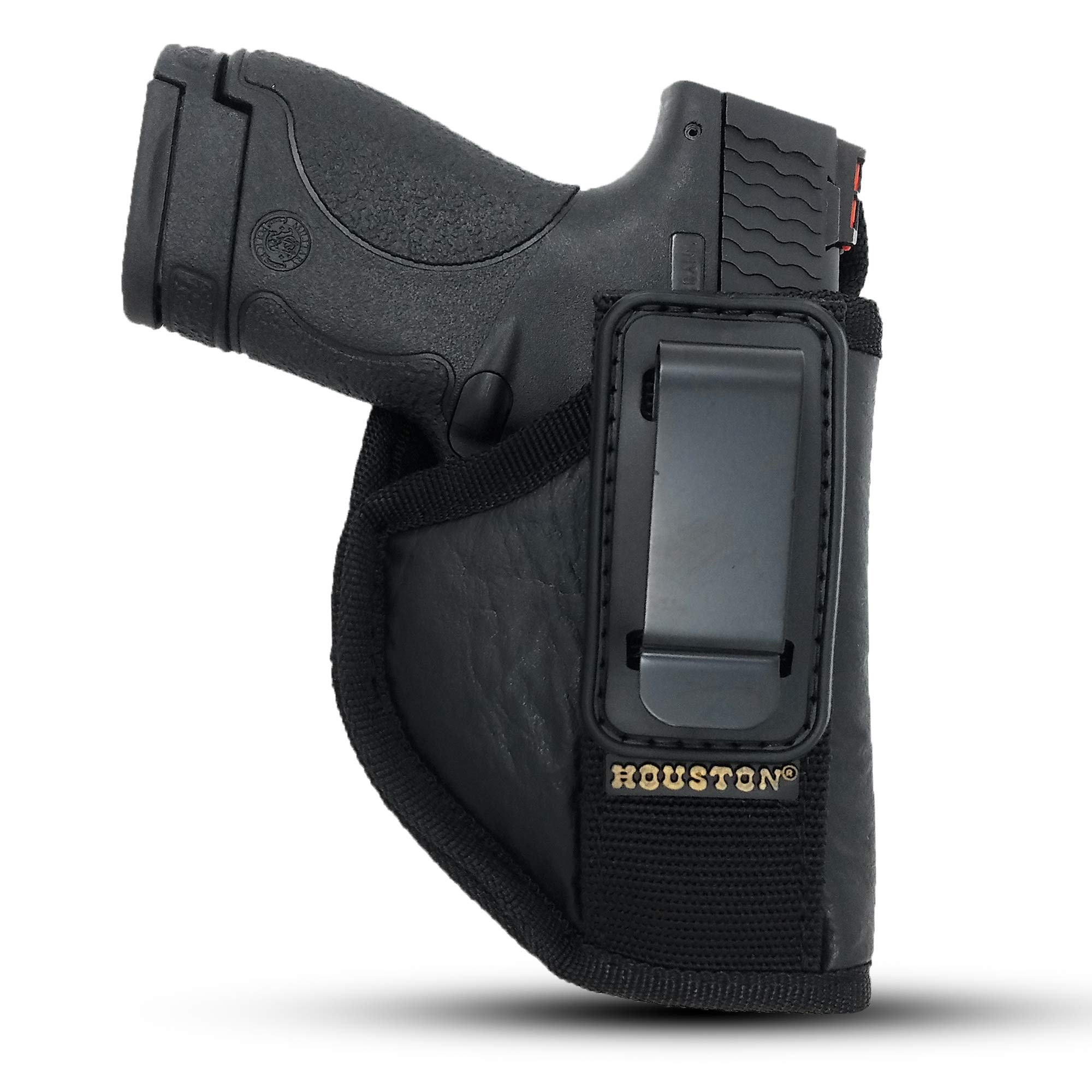 IWB Tuckable Gun Holster by Houston - ECO Leather Concealed Carry Soft Material   Fits Glock 26/27/33, Shield, XDS, Taurus 709, Taurus Pro C, Walther P22, Beretta Nano, SCCY Sky.Ruger LC9 (Right) by Houston Gun Holsters