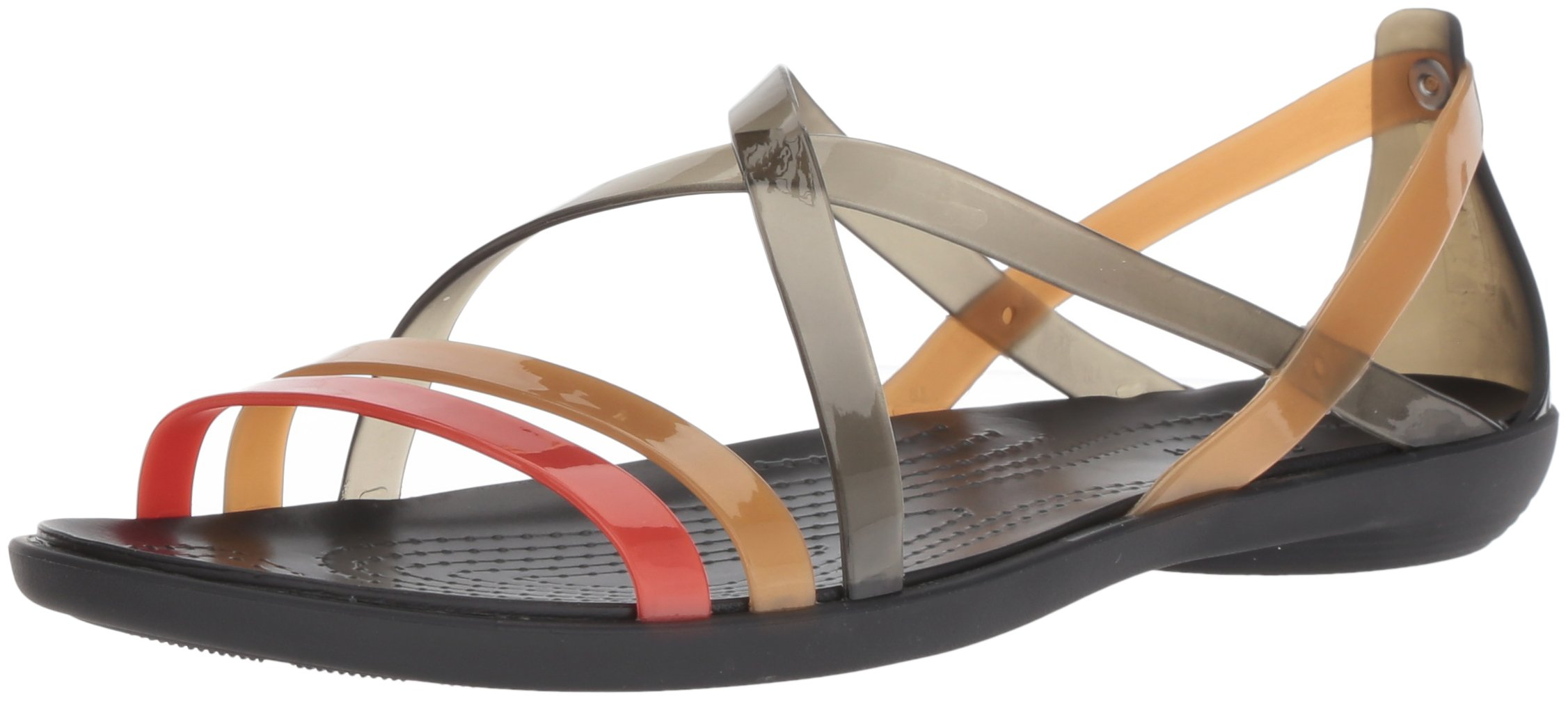 Crocs Women's Drew x Isabella Sdl W Flat Sandal, Black/Gold, 8 M US