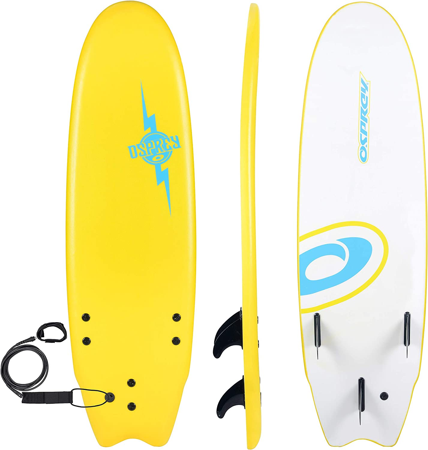 6 ft//7 ft//8 ft Yellow Bolt Osprey Foam Surfboard Soft Foamie Complete with Leash and Fins