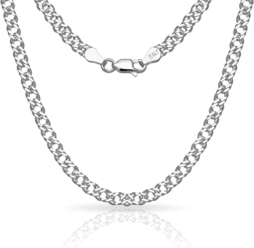 Sterling Silver 9.2mm Charm Link Bracelet Chain 925 Made in Italy 8 Inch NEW 7