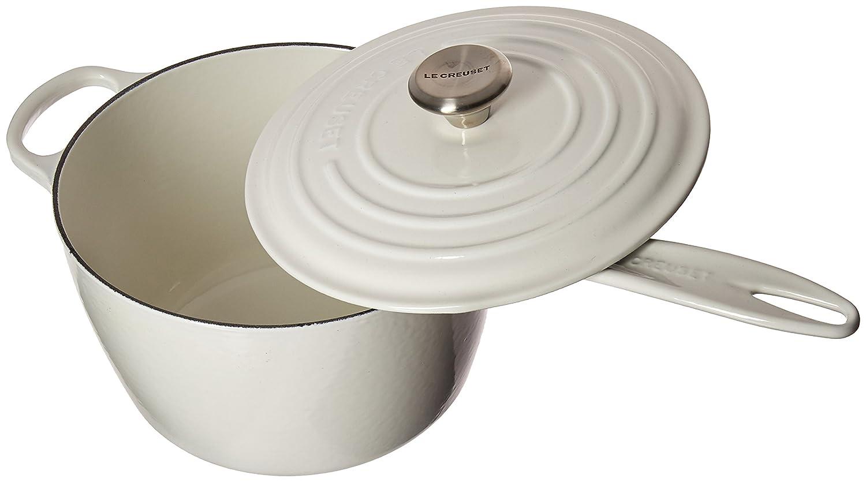 Le Creuset LS2518-2016SS Enameled Cast Iron 3.25 quart Signature Saucepan, White