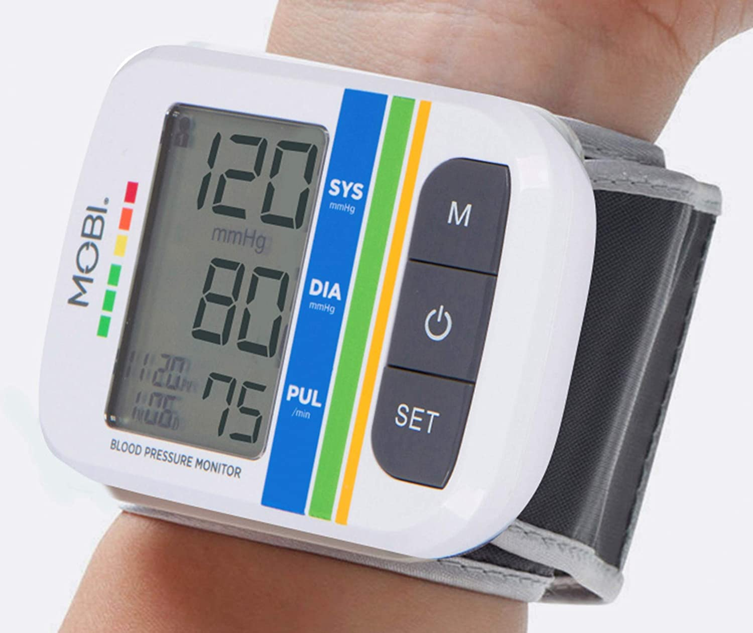 MOBI Health Automatic Wrist Blood Pressure Cuff Monitor – Detects Irregular Heartbeat Monitors Pulse Rate Fast Accurate Readings Wrist Blood Pressure Monitor