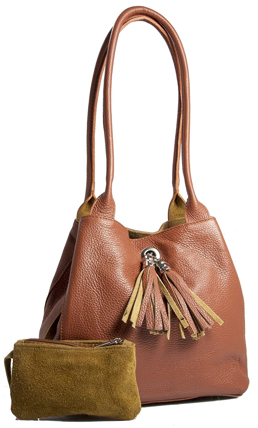 ba1568c39e LIATALIA Womens Two in One Real Leather with Reversible Suede Medium Size Slouch  Shoulder Bag - ELLA  Burnt Orange   Handbags  Amazon.com