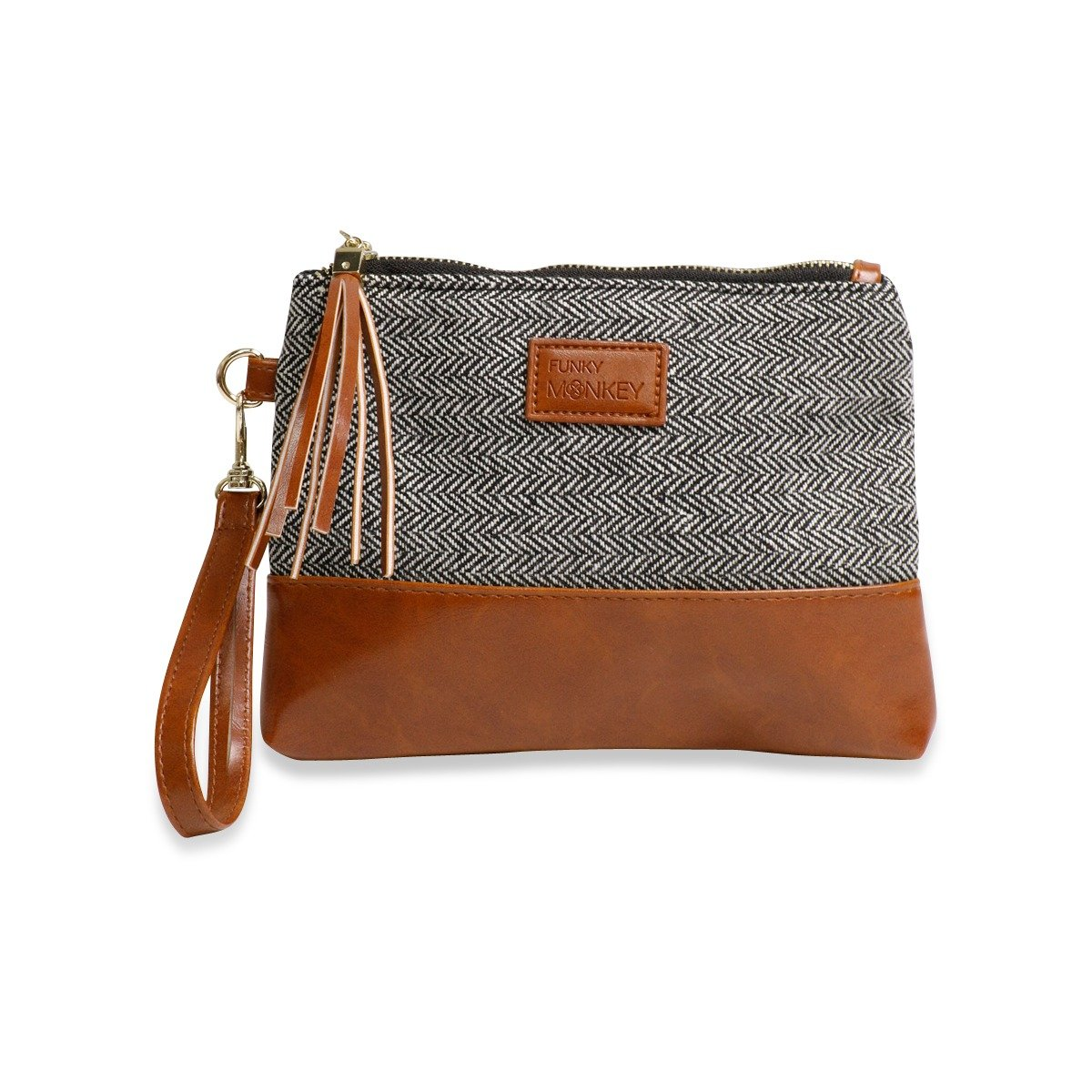 {Erika Collection} Wristlet Wallet Clutch Bag - Phone Purse Handbag - Small, Medium or Large Size - Brown & Gray Horizontal Herringbone Style, Vegan Bottom Urban- Funky Monkey Fashion (Medium)