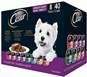 Cesar Canine Cuisine Wet Dog Food, 8 Flavor Variety Pack Classic Loaf in Sauce (3.5 Ounce, 40 ct.), 140 Ounce