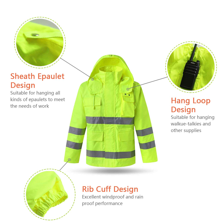 XIAKE SAFETY Class 3 Hi-Vis Reflective Rainwear Breathable Windproof Waterproof Antifouling, ANSI/ISEA Compliant,Yellow(XLarge) by XIAKE (Image #4)