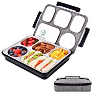 Large Bento Lunch Box with 5 Compartments, Leakproof Lunch Containers with Removable Stainless-Steel Tray for Adults, On-the-Go Meal and Snack Packing, Lunch Bag Included(Black)