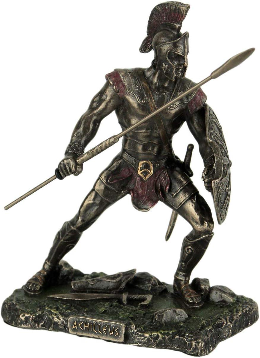 Veronese Design Achilles Rage Trojan War Hero Achilleus Holding Spear and Shield Statue