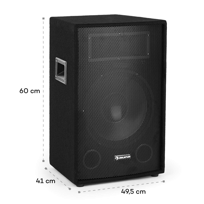auna Cube 1512 Set PA Activo • Sonido 2.1 • 1200W de Potencia Pico • Subwoofer de 38cm • Altavoz de 30cm • Tecnología para biamplificar • Driver ...