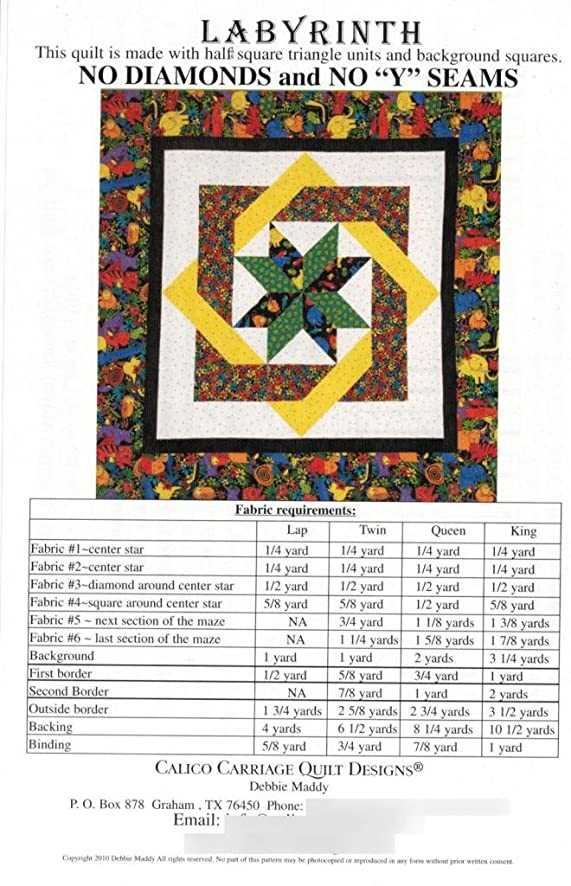 Amazon.com: Labyrinth Quilt Pattern, No Diamonds or