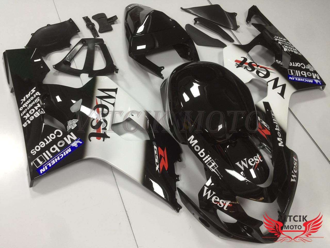 VITCIK (Kit de Carenado para GSX-R750 GSX-R600 K4 2004 2005 GSXR 600 750 K4 04 05) Accesorios de Repuesto para Bastidor y carrocería con(Negro & Blanco) ...