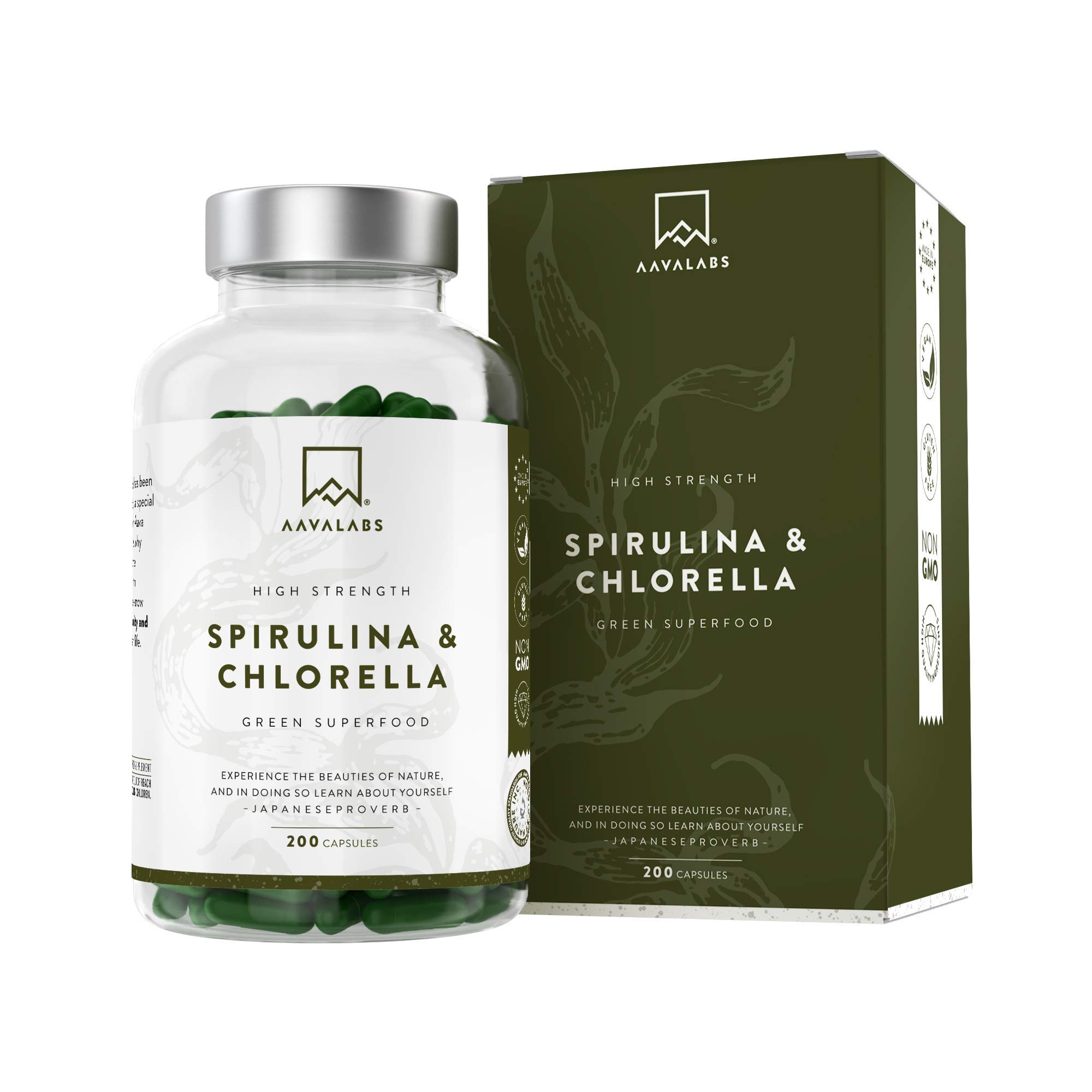 Organic Chlorella Powder and Spirulina Powder [ 1800 mg ] - 200 Powdered Chlorophyll Tablets - High Quality Blue Spirulina Powder and Chlorella Tablets - 100% Vegan Organic Spirulina Capsules