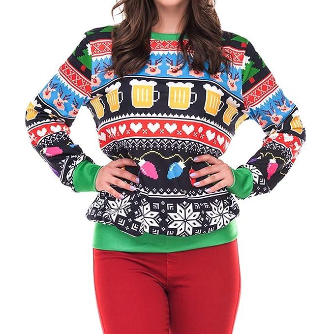 Anglewolf - Sudadera con capucha para mujer, diseño navideño, impresión 3D, para fiesta, Elk large verde: Amazon.es: Hogar