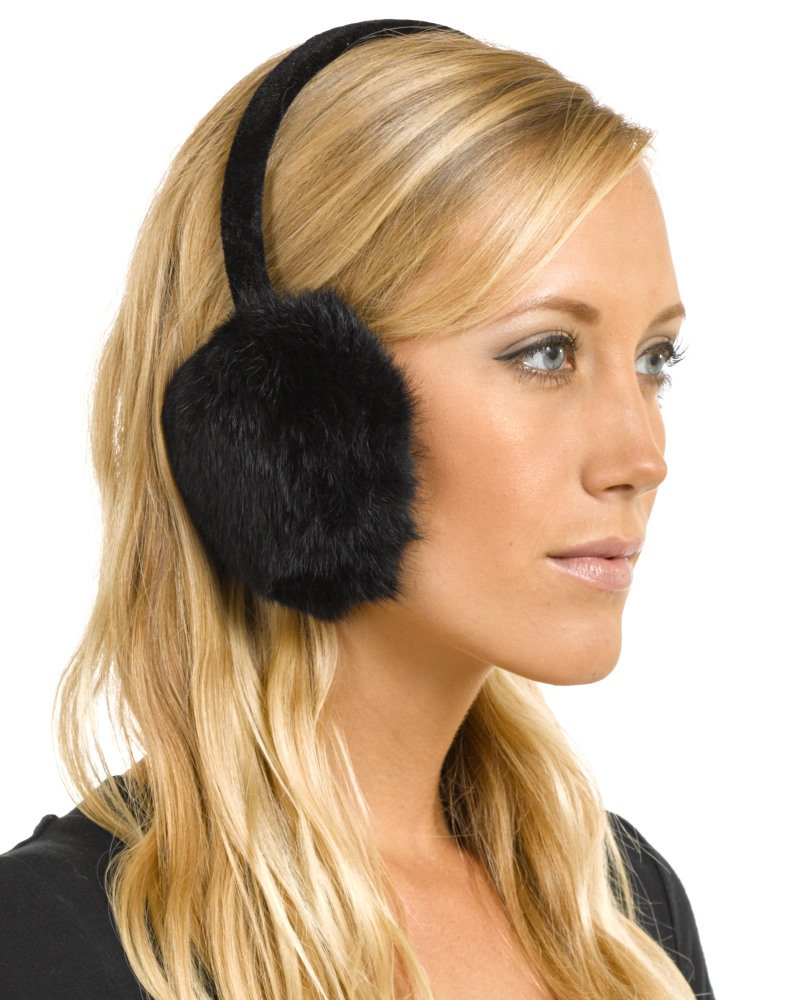 Rabbit Fur Earmuffs with Velvet Band in Black