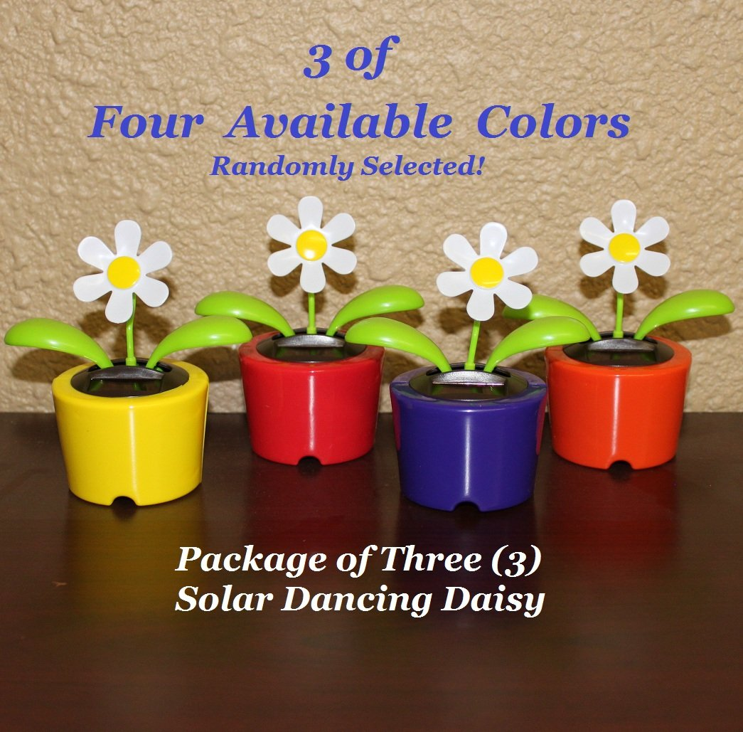 Solar Powered Dancing Daisy Flower - Package of Three (3) Flowers