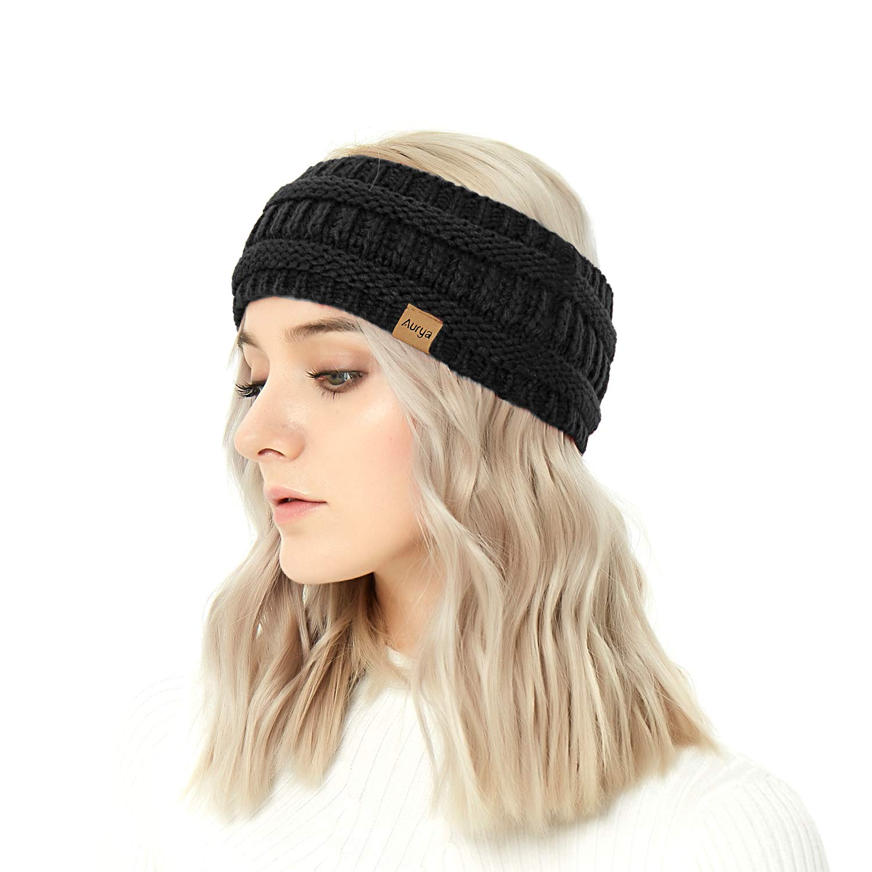 cb5eb85c0ad Winter Warm Cable Knit headband Head Wrap Ear Warmer for Women by  Aurya(Black) at Amazon Women s Clothing store