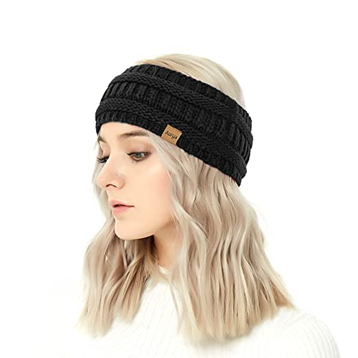 8850b7b1844 Winter Warm Cable Knit headband Head Wrap Ear Warmer for Women by  Aurya(Black)