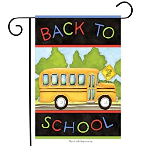 "Briarwood Lane Back to School Bus Autumn Garden Flag Fall 12.5"" x 18"""