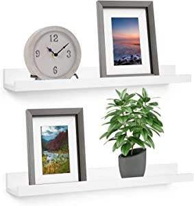 Wall Mounted Floating Shelves for Nursery Decor - Kid's Room Bookshelf Display - Picture Ledge (Color - White, 17 Inch Set of 2)