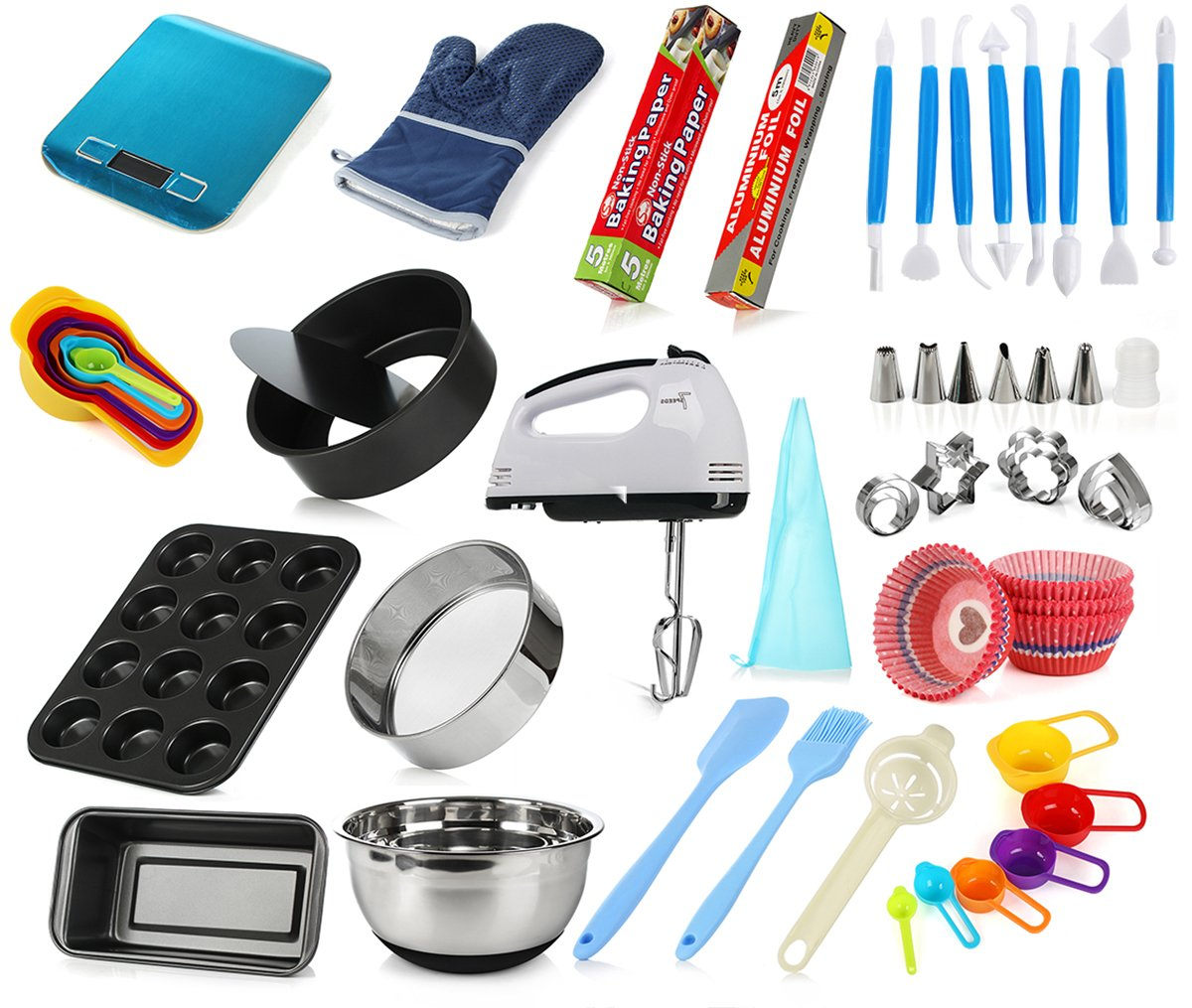 DeElf Complete Cake Baking Set Tools for Teenagers and Adult Beginners Starting Kit - Ultimate Bakeware Set for Birthday, Thanksgiving and Christmas Gift