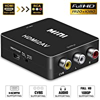HDMI to RCA,HDMI to AV, GANA 1080P HDMI to AV 3RCA CVBs Composite Video Audio Converter Adapter Supporting PAL/NTSC with USB Charge Cable