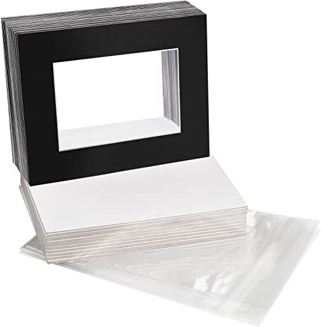 Golden State Art and 100 Clear Plastic Sleeves Bags. Acid-Free Pack of Black 100 5x7 WhiteCore Bevel Cut Picture Mat for 4x6 Photo Including 100 Backing Boards