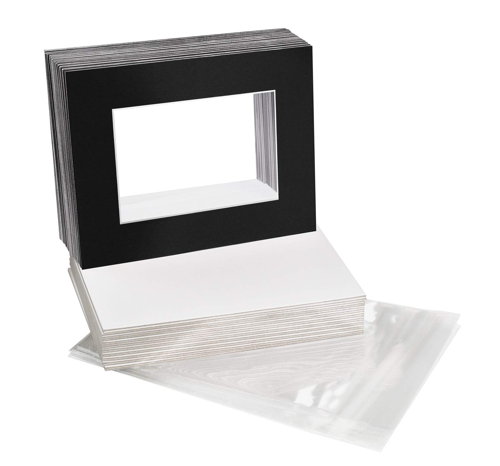 Golden State Art, Acid-Free Pre-Cut 8x10 Black Picture Mat Sets. Includes Pack of 25 White Core Bevel Cut Mats for 5x7 Photos, 25 Backing Boards and 25 Crystal Clear Plastic Sleeves Bags by Golden State Art