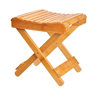 "ECROCY Bamboo Folding Stool for Shaving & Shower Foot Rest - Fully Assembled - 12"" Height"