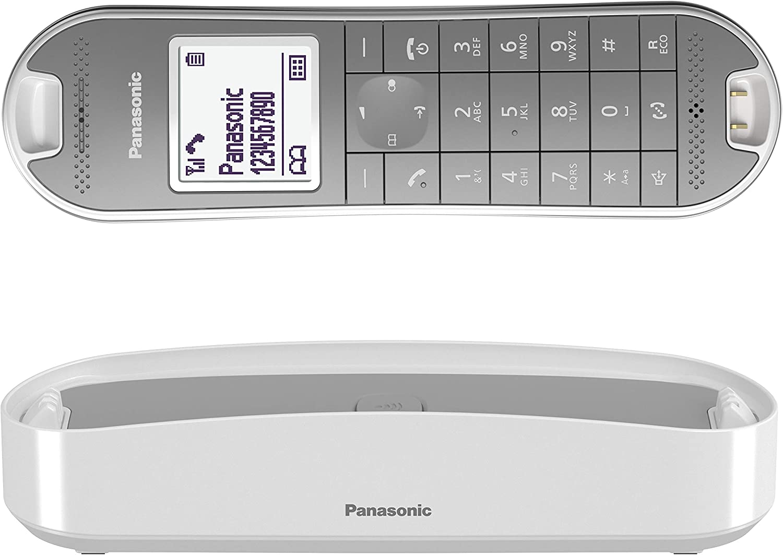 Panasonic KX-TGK310 - Teléfono fijo inalámbrico de diseño (LCD, identificador de llamadas, agenda de 120 números, bloqueo de llamada, modo ECO Plus), color blanco