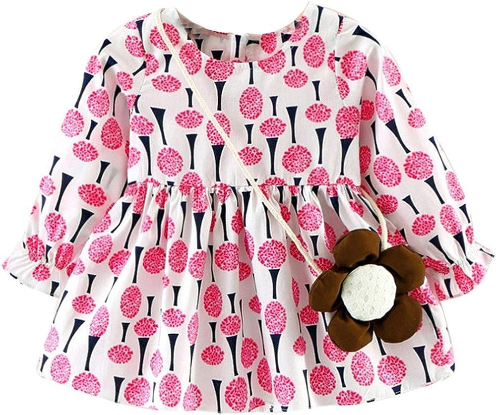 Toddler Baby Girls Dress Long Sleeve Princess Casual Dresses with Bag