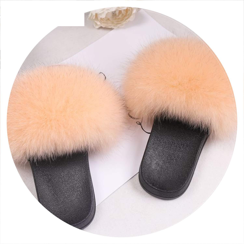 6e2915574fcb7 Amazon.com | Luxury Women Real Fox Fur Sandals Fox Hair Fur Slides ...