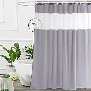 UFRIDAY Gray Shower Curtain 72x75 Inches, Fabric Bathroom Curtain with Mesh Window Design, Weighted Bottom Hem, Waterproof, Machine Washable