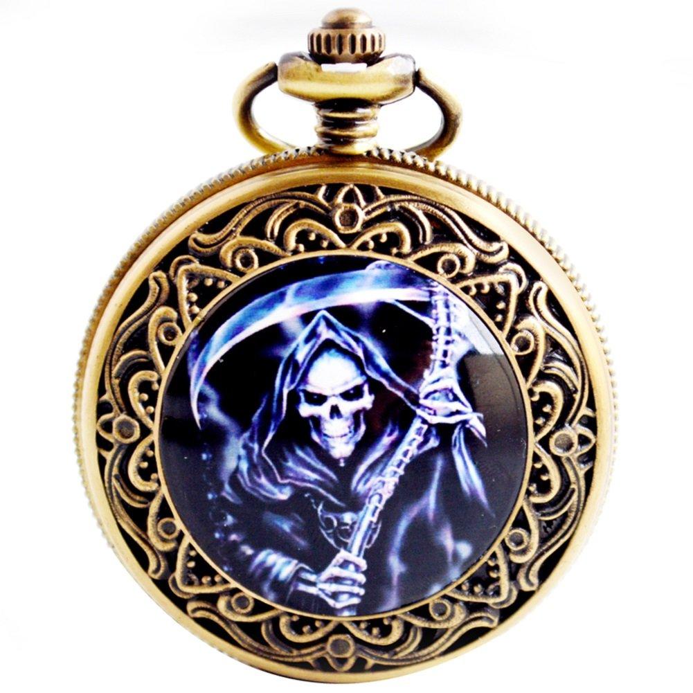 BOSHIYA Vintage Stainless Steel Skull Pocket Watch Grim Reaper Cosplay Dress Watch with Chain Purple