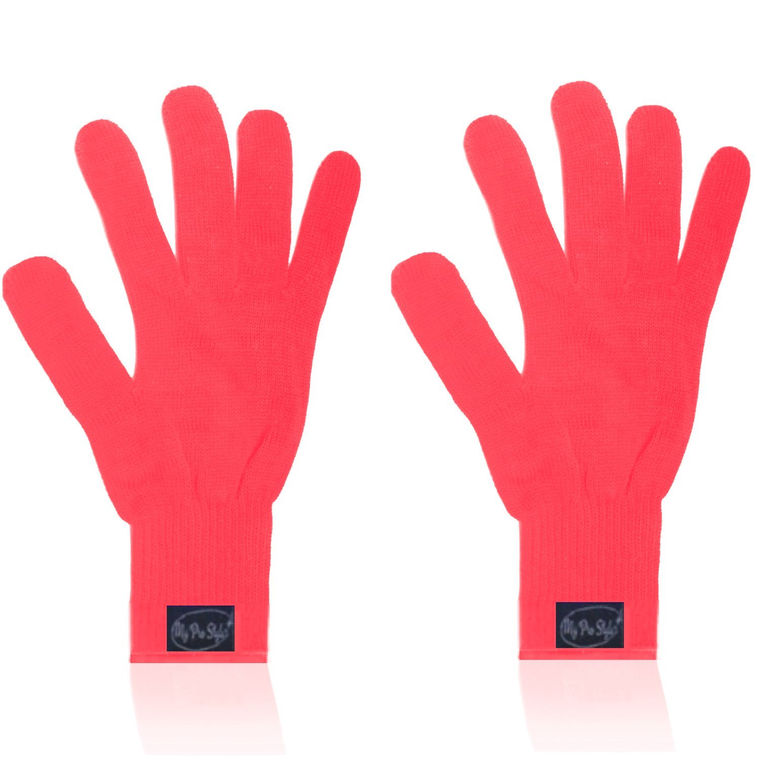 (PAIR) 2 X ORANGE NEON - Professional Heat Resistant Gloves. For Curling and Flatting Iron