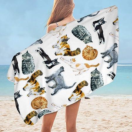 Sleepwish Toalla de baño para Gato, Toalla de Playa Grande de 30 x 60 Pulgadas con diseño de Gatos Hipster, Toallas de natación, Toalla Vintage de Animales, Regalos para Gatos: Amazon.es: Hogar