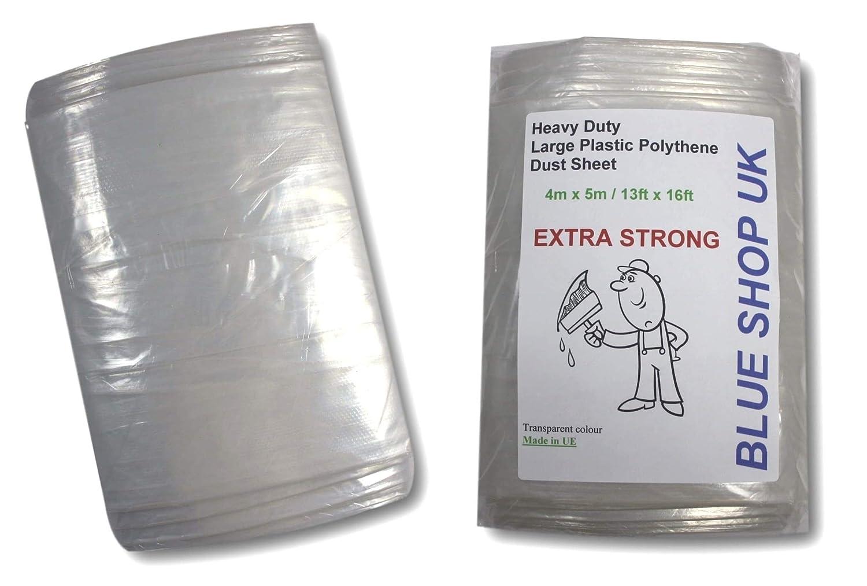 1000g EXTRA STRONG 4m x 5m Heavy Duty Large Plastic Polythene Dust Sheet 13ft x 16ft Painting Masking (Floor Windows) *ODORLESS (1 x 1000g Extra Strong Large Polythene Dust Sheet) Blue Shop UK
