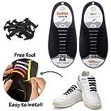 Konsait No-Tie Silicone Elastic Shoe Laces for 16pcs/Adults(Black)