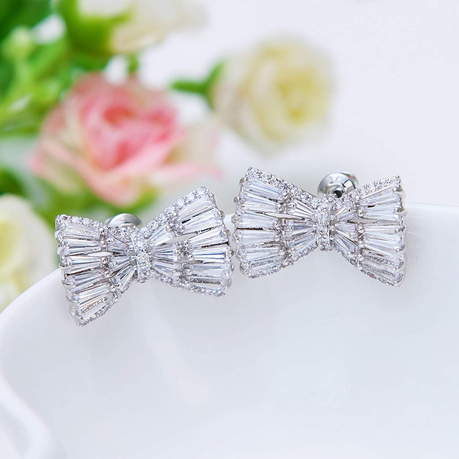 Sterling Silver Jewelry By CS-DB Small Size Candy Cut Pave Clear CZ Bow Stud Earrings