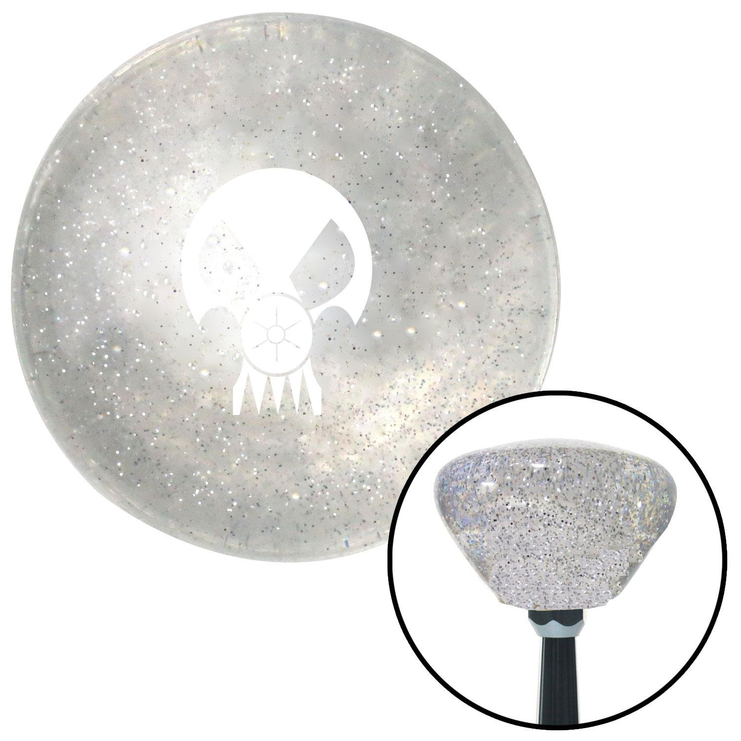 White Skull Gas Mask American Shifter 163010 Clear Retro Metal Flake Shift Knob with M16 x 1.5 Insert