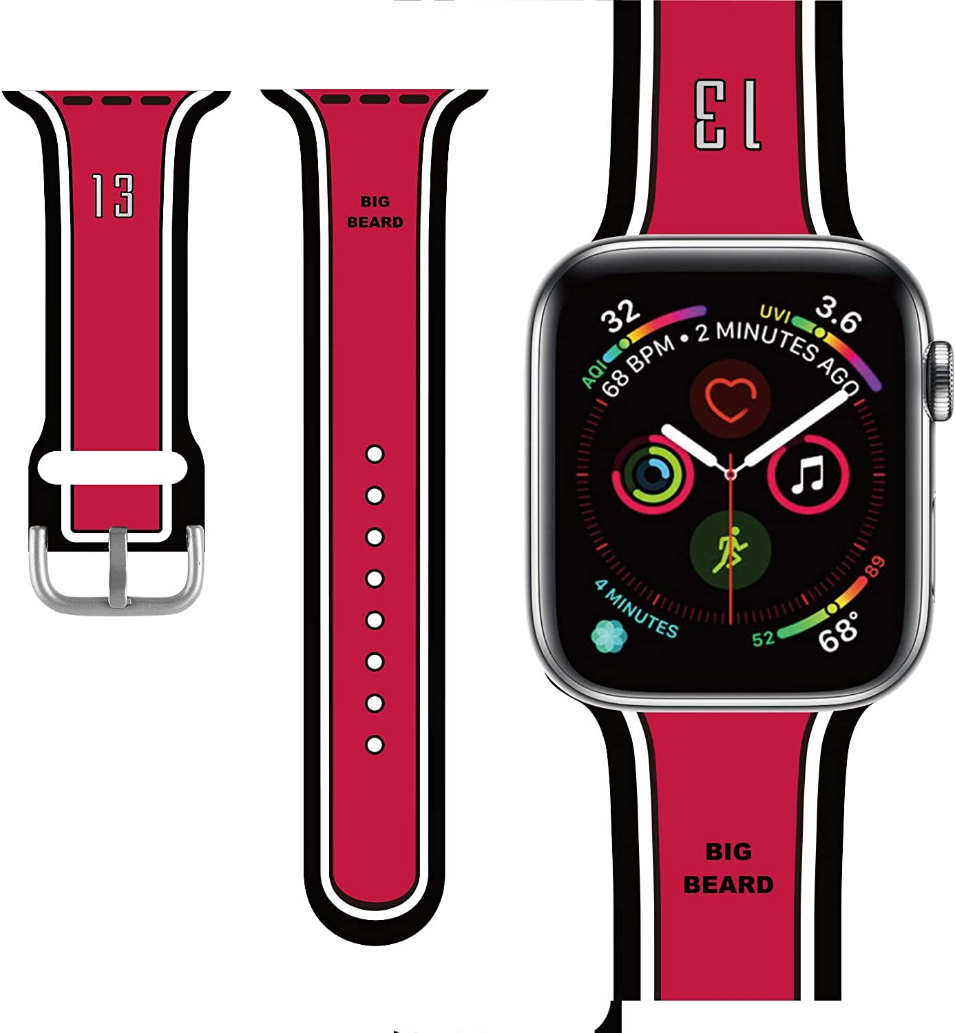 Basketball design Compatible with Apple Watch Band 38mm/40mm/42mm/44mm,Classic Cute Fashion for Kids Men Boys Character Silicone Band Compatible iWatch Series 5,Series 4,Series 3,Series 2,Series 1