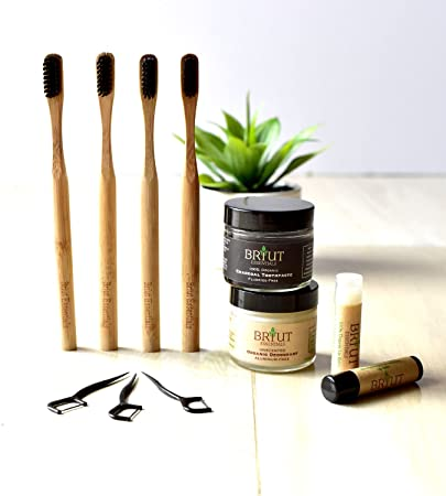 Bundle - Organic Deodorant, Charcoal Toothpaste, Lip Balms, Toothbrush (4  Pack), Floss