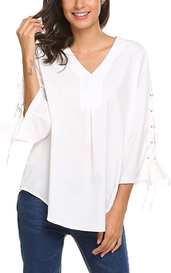 Meaneor Fashion Womens Casual Long Sleeve Pullover V-Neck Blouse Tops(White,Medium)
