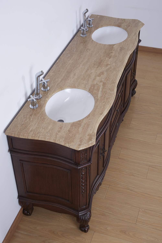 "72"" Bathroom Vanity Travertine Stone Top Double Sink Fully"