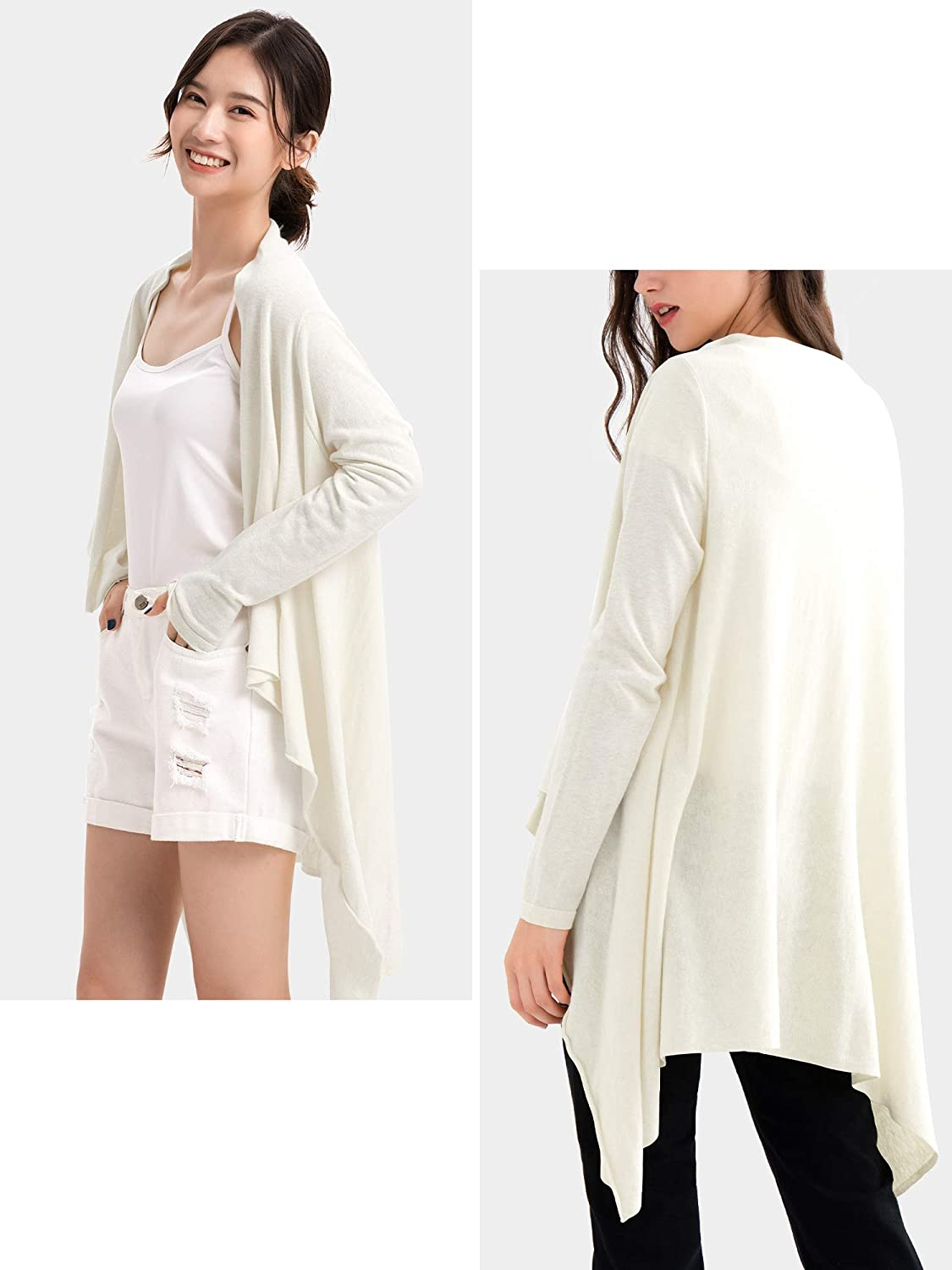 MessBebe Cardigans for Women Knit Lightweight Open Front Cardigans Kimono Waterfall Cardigans Ladies Long Shawl