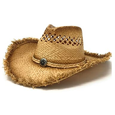f36dd6d661b Raffia Straw Cowboy Hat with Sun Stamped Metal Concho at Front and Rope  Chin Strap (