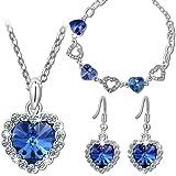 """Pauline & Morgen """"Amour Bleu"""" Parure Bracelet Collier Boucles d'Oreilles pour femme composés de cristaux SWAROVSKI®"""